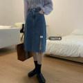 skirt Spring 2021 S,M,L Retro Blue Mid length dress commute High waist Denim skirt Solid color Type A 18-24 years old Pocket, button, zipper Korean version