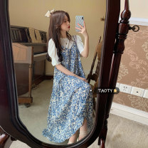 Dress Summer 2021 White short sleeve piece , Blue dress piece Average size Mid length dress singleton  Sleeveless commute V-neck Loose waist Broken flowers Socket A-line skirt other camisole 18-24 years old Type A Korean version