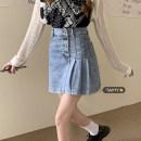 skirt Summer 2021 S,M,L,XL Blue, black Short skirt commute High waist Irregular Solid color Type A 18-24 years old Button Korean version