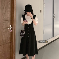 Dress Summer 2021 Grey skirt piece, black skirt piece, white coat piece Average size Middle-skirt singleton  Sleeveless commute other High waist Solid color Single breasted Big swing Flying sleeve straps 18-24 years old Type H Korean version