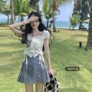 skirt Summer 2021 S, M White top piece, pleated skirt piece Short skirt commute High waist A-line skirt lattice Type A 18-24 years old Korean version