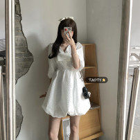 Dress Summer 2021 Black sling piece, white sling piece, black dress piece, white dress piece S. M, average size Short skirt singleton  three quarter sleeve commute V-neck High waist Solid color Socket A-line skirt puff sleeve Others 18-24 years old Type A Korean version Nail bead