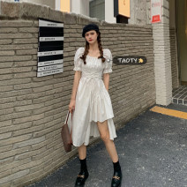 Dress Summer 2021 White, black Average size Mid length dress singleton  Short sleeve commute square neck High waist Solid color Socket A-line skirt puff sleeve Others 18-24 years old Type A Korean version