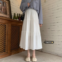 skirt Summer 2021 Average size White, black Mid length dress commute High waist A-line skirt Solid color Type A 18-24 years old Korean version