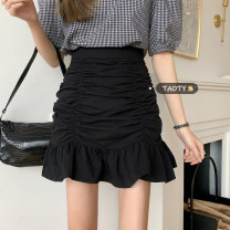 skirt Summer 2021 S,M,L White, black, yellow, pink Short skirt commute High waist A-line skirt Solid color Type A 18-24 years old fold Korean version