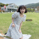 Dress Summer 2021 Blue + bag, Yellow + bag M, L Middle-skirt singleton  Short sleeve commute square neck High waist Broken flowers Socket A-line skirt puff sleeve Others 18-24 years old Type A Korean version Lace up, printed