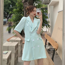Dress Summer 2021 Light blue, white, pink, black S, M Short skirt singleton  Short sleeve commute tailored collar High waist Solid color double-breasted A-line skirt routine Others 18-24 years old Type A Korean version Button