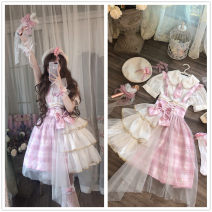 Dress Summer 2020 Cherry's love, suspender skirt + side clip, suspender skirt + side clip + candy socks, suspender skirt + side clip + candy socks + sleeves, candy socks + sleeves + Berets + inner skirt support, side clip + candy socks + sleeves + inner skirt support Average size Short skirt Sweet