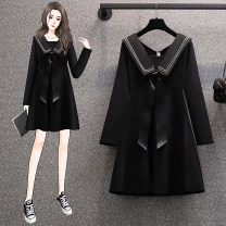 Women's large Spring 2021 black L [90-115 Jin recommended], XL [115-135 Jin recommended], 2XL [135-155 Jin recommended], 3XL [155-175 Jin recommended], 4XL [175-200 Jin recommended] Dress singleton  commute easy Socket Long sleeves Solid color Korean version Admiral Medium length polyester bow