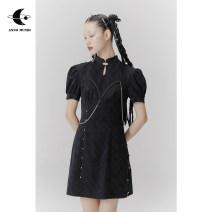 Dress Summer 2020 Black, black pre-sale S,M,L Short skirt singleton  Short sleeve stand collar High waist lattice A-line skirt puff sleeve Others Type X AnnoMundi Amw050260 improved cheongsam 51% (inclusive) - 70% (inclusive) cotton