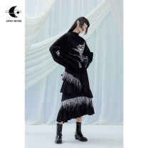 skirt Winter 2020 Average size Black, black pre-sale Mid length dress Retro Natural waist Cake skirt other Type A 18-24 years old Amw030403 feather skirt 31% (inclusive) - 50% (inclusive) AnnoMundi polyester fiber