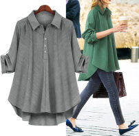Women's large Spring 2021 Grey, green, black Large L, large XL, 2XL, 3XL, 4XL shirt singleton  street Long sleeves Solid color Polo collar routine other shirt sleeve Europe and America