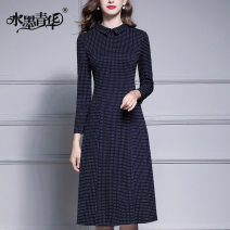 Dress Autumn of 2019 navy blue M L XL XXL XXXL 4XL Mid length dress singleton  Long sleeves commute Polo collar middle-waisted Solid color zipper A-line skirt routine 30-34 years old Type A Ink and wash Ol style zipper 51% (inclusive) - 70% (inclusive) cotton Pure e-commerce (online only)