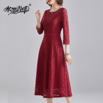 Dress Spring 2021 gules M L XL XXL XXXL 4XL Mid length dress singleton  three quarter sleeve commute Crew neck middle-waisted Solid color zipper Big swing routine 30-34 years old Ink and wash Ol style Zipper lace J391 31% (inclusive) - 50% (inclusive) Lace nylon