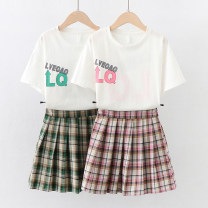 suit Children's flag Pink Green 130cm 140cm 150cm 160cm 170cm female summer college Short sleeve + skirt 2 pieces Thin money No model Socket nothing lattice cotton children Learning reward TQ70157 Class B Cotton 95% polyurethane elastic fiber (spandex) 5% Summer 2021 Chinese Mainland Dongguan City