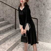 Dress Autumn 2020 Retro Black S,M,L,XL Middle-skirt singleton  Long sleeves commute V-neck High waist Solid color Socket A-line skirt other Others Type A Retro Lace up, stitching, mesh, zipper velvet