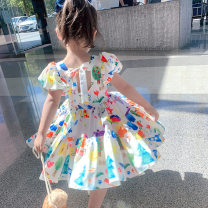 Dress white female Other / other 7(90cm),9(100cm),11(110cm),13(120cm),15(130cm) Other 100% summer Korean version Short sleeve other other F6760 2 years old, 3 years old, 4 years old, 5 years old, 6 years old Chinese Mainland