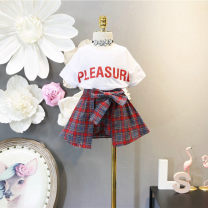 suit Other / other white 7(100cm),9(110cm),11(120cm),13(130cm),15(140cm) female summer leisure time Short sleeve + pants 2 pieces Socket children Expression of love 2 years old, 3 years old, 4 years old, 5 years old, 6 years old