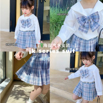 suit Other / other Graph color 7(90cm),9(100cm),11(110cm),13(120cm),15(130cm) female spring and autumn Korean version Long sleeve + skirt Socket nothing lattice other 2 years old, 3 years old, 4 years old, 5 years old, 6 years old Chinese Mainland