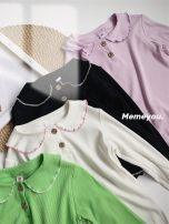 T-shirt Black, beige Other / other 7(90cm),9(100cm),11(110cm),13(120cm),15(130cm) female spring and autumn Long sleeves Korean version nothing other Solid color F7149 2 years old, 3 years old, 4 years old, 5 years old, 6 years old Chinese Mainland