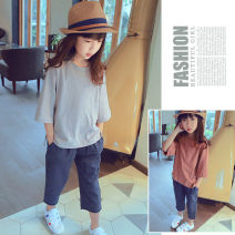 T-shirt Apricot, rust red Other / other 7(100cm),9(110cm),11(120cm),13(130cm),15(140cm) neutral spring and autumn three quarter sleeve Crew neck leisure time nothing other Solid color F1615 other 2 years old, 3 years old, 4 years old, 5 years old, 6 years old