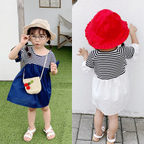 Dress White, blue female Other / other 7,9,11,13,15 Other 100% summer Short sleeve stripe other Splicing style F0179 other 2 years old, 3 years old, 4 years old, 5 years old, 6 years old