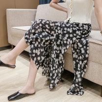 Casual pants White, black S,M,L,XL Summer 2021 Ninth pants Wide leg pants High waist commute Thin money 18-24 years old 71% (inclusive) - 80% (inclusive) 429///qm polyester fiber Korean version Three dimensional cutting polyester fiber