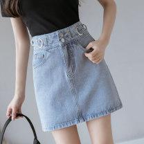 skirt Spring 2021 S,M,L,XL blue Short skirt commute High waist Denim skirt Solid color Type A 18-24 years old 429///qm 71% (inclusive) - 80% (inclusive) Denim cotton Pockets, rags, buttons, zippers Korean version