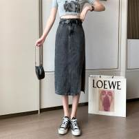 skirt Summer 2021 S,M,L,XL Soot, dark blue longuette Versatile High waist A-line skirt Solid color Type A 18-24 years old ///nan 71% (inclusive) - 80% (inclusive) Denim Cellulose acetate