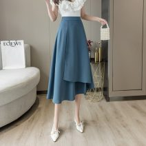 skirt Summer 2021 S,M,L,XL Apricot, orange, blue, black Mid length dress commute High waist Irregular Solid color Type A 18-24 years old cr// 71% (inclusive) - 80% (inclusive) other Other / other Asymmetry Korean version