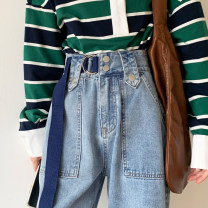 Jeans Spring 2021 Light blue, dark blue XS,S,M,L,XL trousers High waist Wide legged trousers routine 18-24 years old Cotton denim light colour cr// 96% and above