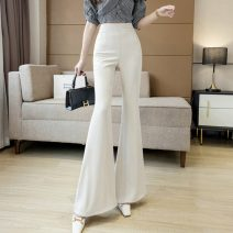Casual pants Apricot, black S,M,L,XL,2XL Spring 2021 trousers Flared trousers High waist Versatile routine 18-24 years old 71% (inclusive) - 80% (inclusive) 429//qm Three dimensional decoration