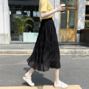 skirt Summer 2021 Average size Apricot, white, black Mid length dress commute High waist Pleated skirt Solid color Type A 18-24 years old cr// 71% (inclusive) - 80% (inclusive) Other / other Three dimensional decoration Korean version