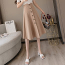 skirt Summer 2021 S,M,L,XL Khaki, apricot, black Mid length dress commute High waist A-line skirt Solid color Type A 18-24 years old JN 71% (inclusive) - 80% (inclusive) Korean version