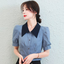 shirt puff sleeve Splicing other 71% (inclusive) - 80% (inclusive) Summer 2021 Short sleeve commute Short style (40cm < length ≤ 50cm) Doll Collar Solid color Single row multi button 18-24 years old High waist type ❤ Korean version S,M,L,XL Blue, yellow