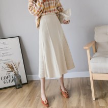skirt Winter 2020 S,M,L Black, apricot, dark grey, brown Mid length dress commute High waist A-line skirt Solid color Type A 18-24 years old 429//qm 71% (inclusive) - 80% (inclusive) other Three dimensional decoration Korean version