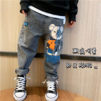 trousers Other / other neutral 90cm,100cm,110cm,120cm,130cm,140cm,150cm,160cm Cartoon Bear jeans in stock, Cartoon Bear jeans pre-sale spring and autumn trousers leisure time There are models in the real shooting Jeans Leather belt middle-waisted cotton Don't open the crotch Cotton 100% Class A