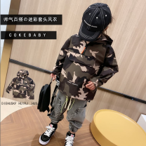 Plain coat Other / other male 90cm,100cm,110cm,120cm,130cm,140cm,150cm 21 camouflage windbreaker spot, 21 camouflage windbreaker pre-sale spring and autumn leisure time Zipper shirt There are models in the real shooting routine No detachable cap Solid color cotton Crew neck