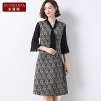 Middle aged and old women's wear Summer 2021 Black 1 2 3 4 XL [within 100 kg recommended] 2XL [100-115 kg recommended] 3XL [115-130 kg recommended] 4XL [130-145 kg recommended] 5XL [145-155 kg recommended] fashion Dress easy singleton  lattice 40-49 years old Socket thin V-neck routine 11283Q Susanna