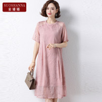 Middle aged and old women's wear Summer 2021 Pink 1 2 3 4 XL 2XL 3XL 4XL fashion Dress easy singleton  Solid color 40-49 years old Socket thin Crew neck Medium length routine 11218Q Susanna zipper polyester Polyester 100% 96% and above Pure e-commerce (online only) Medium length Chiffon other