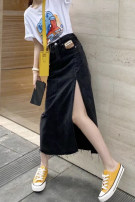 skirt Spring 2021 S,M,L Picture color longuette commute Natural waist Denim skirt Solid color Type H 18-24 years old 51% (inclusive) - 70% (inclusive) other cotton pocket Korean version
