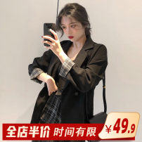 Women's large Spring 2020 Black suit single plaid skirt single black suit + plaid skirt suit S M L XL 2XL 3XL 4XL skirt Two piece set commute easy thick Conjoined elbow sleeve Broken flowers Korean version One word collar routine Three dimensional cutting routine 1-3C8364 Homecore 18-24 years old