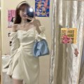 Dress Summer 2021 white S, M Middle-skirt singleton  Long sleeves commute Crew neck High waist Solid color Socket other Breast wrapping 18-24 years old Type H Korean version S13 51% (inclusive) - 70% (inclusive) cotton