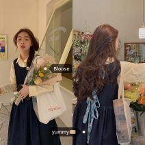 Dress Spring 2021 Average size Mid length dress Two piece set Long sleeves commute Polo collar High waist Solid color A-line skirt other straps 18-24 years old Type A Korean version 51% (inclusive) - 70% (inclusive) other cotton