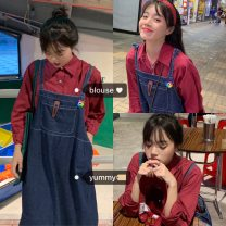 Fashion suit Spring 2020 Average size Denim strap skirt, red shirt 18-25 years old #33020 31% (inclusive) - 50% (inclusive) cotton