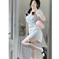 Dress Summer 2021 Picture color S,M,L Middle-skirt singleton  Short sleeve Sweet High waist Decor Socket other other Breast wrapping 18-24 years old Type H 51% (inclusive) - 70% (inclusive) Chiffon Mori
