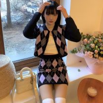 Wool knitwear Spring 2021 Average size Diamond lattice skirt , Diamond cardigan Long sleeves Two piece set Cardigan acrylic fibres 31% (inclusive) - 50% (inclusive) Regular routine routine Single breasted 18-24 years old