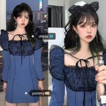 Dress Autumn 2020 blue S,M,L Short skirt Fake two pieces Long sleeves commute square neck High waist Solid color Socket A-line skirt puff sleeve Others 18-24 years old Type A Korean version 71% (inclusive) - 80% (inclusive) Chiffon cotton
