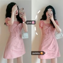 Dress Summer 2020 White, pink, black Average size Short skirt Short sleeve One word collar High waist Solid color Socket A-line skirt other Breast wrapping 18-24 years old 51% (inclusive) - 70% (inclusive)