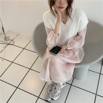 Dress Summer 2021 Pink gauze skirt, suspender skirt, white vest Average size Long sleeves Sweet Crew neck High waist Solid color Socket other Others 18-24 years old Type A 51% (inclusive) - 70% (inclusive) Mori